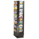 SAFCO PRODUCTS SAF4325BL Steel Rotary Magazine Rack, 92 Compartments, 14w X 14d X 68h, Black