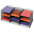SAFCO PRODUCTS SAF9430BL Onyx Steel Mesh Lliterature Sorter, 12 Compartments, Black