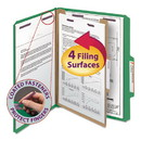 SMEAD MANUFACTURING CO. SMD13733 Pressboard Classification Folders, Letter, Four-Section, Green, 10/box