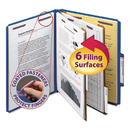 SMEAD MANUFACTURING CO. SMD14032 Pressboard Classification Folders, Letter, Six-Section, Dark Blue, 10/box