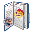 SMEAD MANUFACTURING CO. SMD18732 Pressboard Classification Folders, Legal, Four-Section, Dark Blue, 10/box