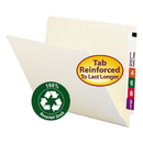 SMEAD MANUFACTURING CO. SMD24160 100% Recycled End Tab Folders, Reinforced Tab, Letter Size, Manila, 100/box