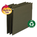 Smead SMD64037 Fastab Recycled Hanging File Folders, Letter, Green, 20/box