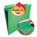 Smead SMD64098 Fastab Hanging File Folders, Letter, Green, 20/box