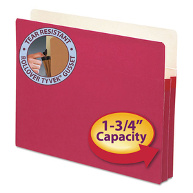 1 3/4 Inch Accordion Expansion Colored File Pocket, Straight Tab, Letter, Red, Price/EA