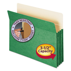 3 1/2 Inch Accordion Expansion Colored File Pocket, Straight Tab, Letter, Green, Price/EA