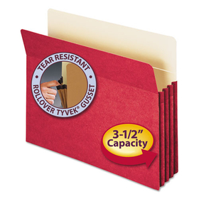 3 1/2 Inch Accordion Expansion Colored File Pocket, Straight Tab, Letter, Red, Price/EA