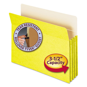 3 1/2 Inch Accordion Expansion Colored File Pocket, Straight Tab, Letter, Yellow, Price/EA