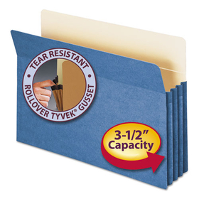 3 1/2 Inch Accordion Expansion Colored File Pocket, Straight Tab, Legal, Blue, Price/EA
