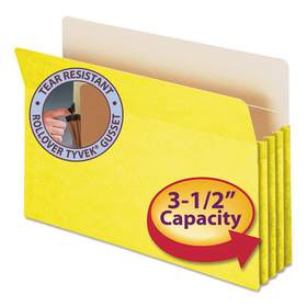 3 1/2 Inch Accordion Expansion Colored File Pocket, Straight Tab, Legal, Yellow, Price/EA