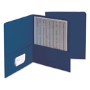 SMEAD MANUFACTURING CO. SMD87854 Two-Pocket Folder, Textured Paper, Dark Blue, 25/box