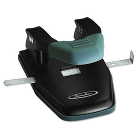 """ACCO BRANDS SWI74050 28-Sheet Comfort Handle Steel Two-Hole Punch, 1/4"""" Holes, Black, Price/EA"""