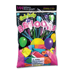 Helium Quality Latex Balloons, 12 Assorted Colors, 144/Pack, Price/PK