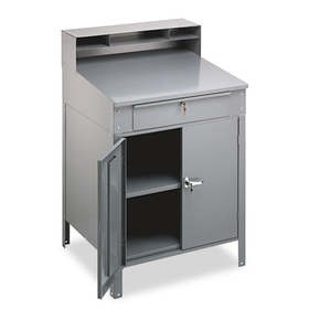 Steel Cabinet Shop Desk, 36w x 30d x 53-3/4h, Medium Gray, Price/EA