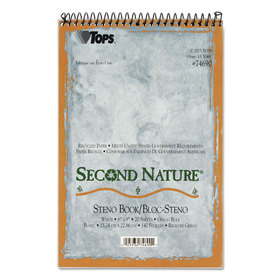 TOPS BUSINESS FORMS TOP74690 Second Nature Spiral Reporter/Steno Notebook, Gregg Rule, 6 x 9, WE, 70-Sheet, Price/EA