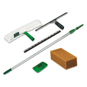 Pro Window Cleaning Kit W/8Ft Pole, Scrubber, Squeegee, Scraper, Sponge