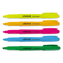 UNIVERSAL PRODUCTS UNV08850 Pocket Highlighter, Chisel Tip, Fluorescent Colors, 5/set