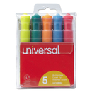 UNIVERSAL PRODUCTS UNV08860 Desk Highlighter, Chisel Tip, Fluorescent Colors, 5/set
