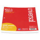 UNIVERSAL PRODUCTS UNV20921 Mediumweight 16-Lb. Filler Paper, 8 1/2 X 11, College Rule, White, 200 Sheets/pk