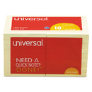 UNIVERSAL PRODUCTS UNV35688 Standard Self-Stick Notes, 3 X 3, Yellow, 100-Sheet, 18/pack