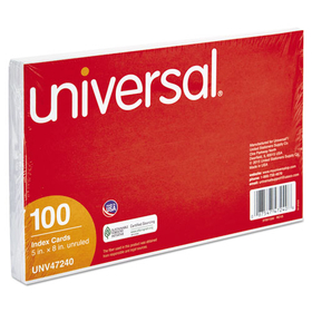UNIVERSAL PRODUCTS UNV47240 Unruled Index Cards, 5 x 8, White, 100/Pack, Price/PK