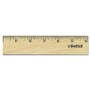 UNIVERSAL PRODUCTS UNV59021 Flat Wood Ruler W/double Metal Edge, 12