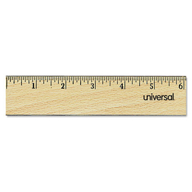 "UNIVERSAL PRODUCTS UNV59021 Flat Wood Ruler w/Double Metal Edge, 12"", Clear Lacquer Finish, Price/EA"