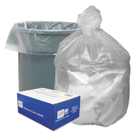 WEBSTER INDUSTRIES WBIGNT4048 High Density Waste Can Liners, 40-45gal, .394mil, 40 x 46, Natural, 250/Carton, Price/CT