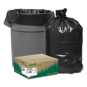 Recycled Can Liners, 55-60 gal, 2 mil, 38 x 58, Black, 100/Carton, Price/CT