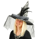 US TOY FA928 Zebra Print Witch Hat w/Feathers & Tulle