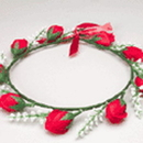 US TOY H340 Red Rose Garland Tiara
