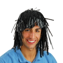 US TOY KD38-01 Black Tinsel Foil Party Wig