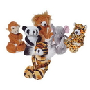 US TOY SB574 Plush Wild Animals with Floppy Legs and Velcro Hands