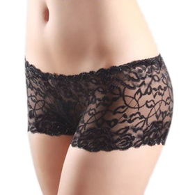 Muka Black Full Lace Boxer Short, No Side Seams