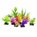 Aquatop AT01272 Plastic Freshwater Aquarium Plant 12 Pack (small weeds), Assorted Colors, 3
