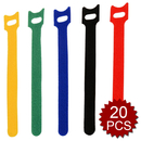 Aspire 20 Pcs Reusable Hook and Loop Fastening Cable Ties, 0.47 in x 8 in
