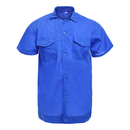 TOPTIE Blue Workwear Pocket Short-Sleeve Shirt With Pants For Labours