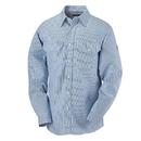 Bulwark SEU2WB Men's Button-Front Dress Uniform Striped Shirt  - White/Blue