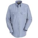Red Kap SL50WB Long Sleeve Deluxe Uniform Shirt - White/Blue
