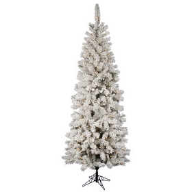 "Vickerman A100376LED 7.5' x 36"" Flock Pacific 250LED WmWht, Christmas Tree, Price/each"