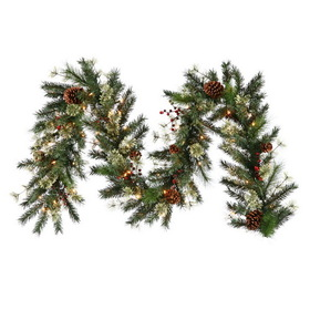 "Vickerman B114315 9' X 14"" Nisswa Berry Pine Garland 70Cl, Berry Garland, Price/each"