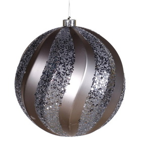 "Vickerman M112127 8"" Pewter Matte-Glitter Swirl Ball, Ball Ornament, Price/each"