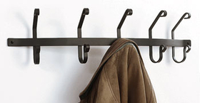 Village Wrought Iron CT-WH-5 Coat Bar with 5 hooks, Price/Each