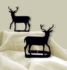 Village Wrought Iron CUR-TB-3 Deer - Curtain Tie Backs, Price/Pair
