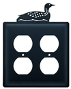Village Wrought Iron EOO-116 Loon - Double Outlet Cover