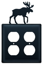Village Wrought Iron EOO-19 Moose - Double Outlet Cover