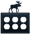 Village Wrought Iron EOOO-19 Moose - Triple Outlet Cover
