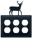 Village Wrought Iron EOOO-3 Deer - Triple Outlet Cover