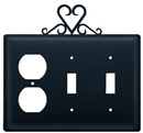 Village Wrought Iron EOSS-51 Heart - Single Outlet and Double Switch Cover