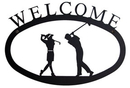 Village Wrought Iron WEL-156-S Two Golfers - Welcome Sign Small
